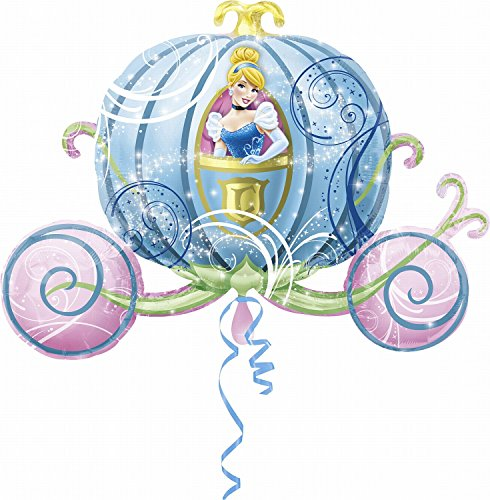 rty und Dekoration - Folienballon Super Shape - Disney Princess - Cinderella in Kutsche, circa 83 x 58 cm (Disney Frozen Birthday Ballons)
