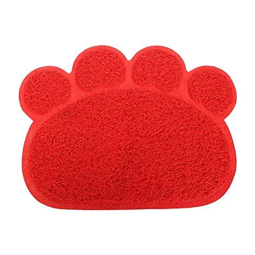 Eizur Paw Form Hundematte PVC Puppy Katze Matte Rechteck Tischset Haustier Hund essen schüssel Matten Küche Tür Floor Mat Hunde Pet Cool Water Gel Kühlmatte Kühlkissen schlafen Pad - Rot