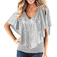 FRPE Women's V-Neck Glitter Sequins Cold Shoulder Shawl Patchwork Tops Shirt Blouse Grey US L