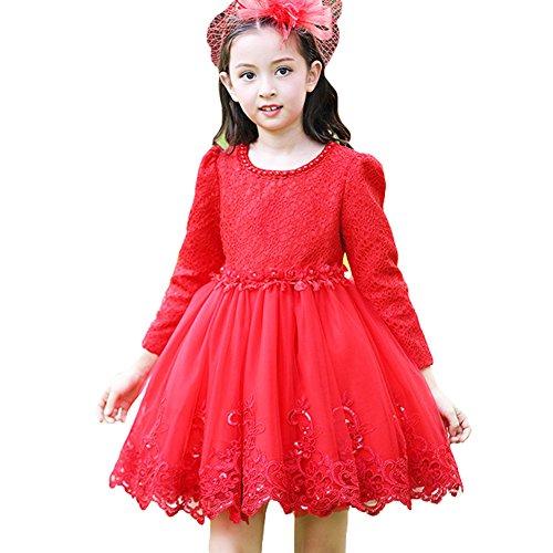 Mädchen Prinzessin Kleider - Langärmelige Kleider Blume Spitze Stickerei Kleid Party Hochzeit Festival Weihnachten Rot 150CM Yying