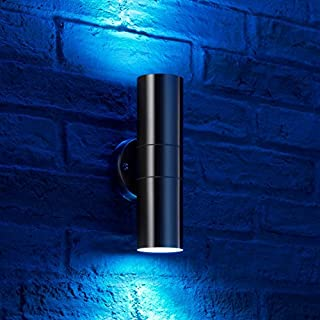 Auraglow Stainless Steel Double Up & Down Outdoor Wall Light with RF Remote Control Colour Changing LED Bulbs