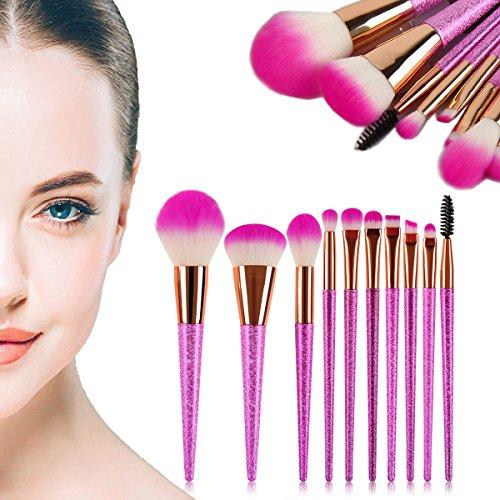 Pinceaux de maquillage, 10 pcs Lot de brosse de maquillage Poils synthétiques Ensemble de brosse Cosmétique Kabuki Fond de teint poudre sourcils Anti-cernes Beauty Kit de pinceaux cosmétiques avec poignée de paillette par E-beshiny - 10 pcs (Rose vif)