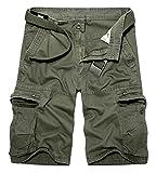 BULUOMU Herren Cargo Shorts Vintage Arbeitsshorts Kurze Freizeithose Outdoor Bermuda aus Baumwolle Männer Sommerhose mit Gürtel-Grün