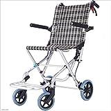 MODYL Rollstuhl Klappbare Tragbare Rollstuhlfahrer, Ältere Reise-Aluminium-Trolley