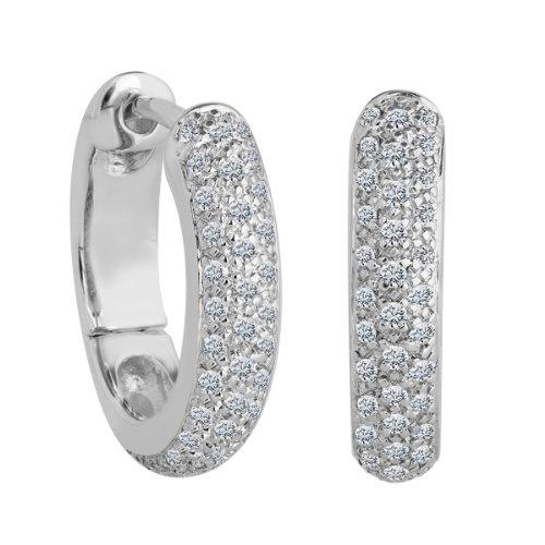 Bella Donna - Orecchini a cerchio da donna con diamante (0,4 ct), oro bianco 8k (333), cod. 109530