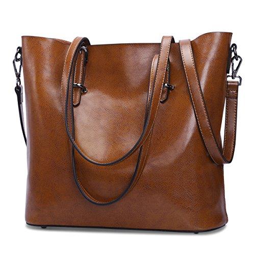 S-ZONE Damen Leder Top Griff Handtasche Crossbody Schultertasche Messenger Tote Bag Purse (Leder Tote-doppel-griff)