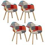WOLTU® 4er Set Esszimmerstühle Küchenstuhl Design Stuhl Esszimmerstuhl mit Lehne Leinen Holz Mehrfarbig BH37mf-4