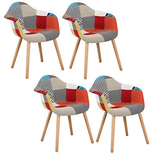 Woltu bh37mf-4 sedie da pranzo sedia cucina soggiorno ristorante poltrona poltroncina con schienale braccioli tessuto di lino gambe di faggio moderno patchwork 4 pezzi