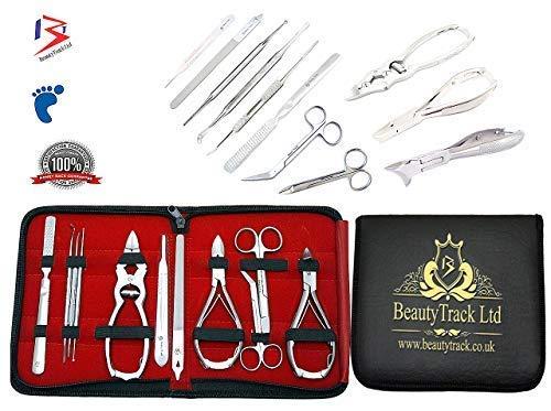 BeautyTrack Set di tagliaunghie firmato BeautyTrack per manicure e pedicure. Kit completo per la cura dei piedi e delle mani,...