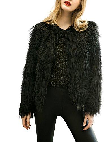 Simplee Apparel Mujer caliente otoño invierno elegante de pelo largo negro Faux Fur Coat Jacket Outwear