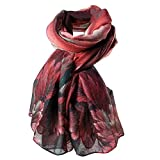 HUHU833 Écharpes châle foulards Femmes mode impression longue écharpe châle Automne Hiver (Vin rouge)