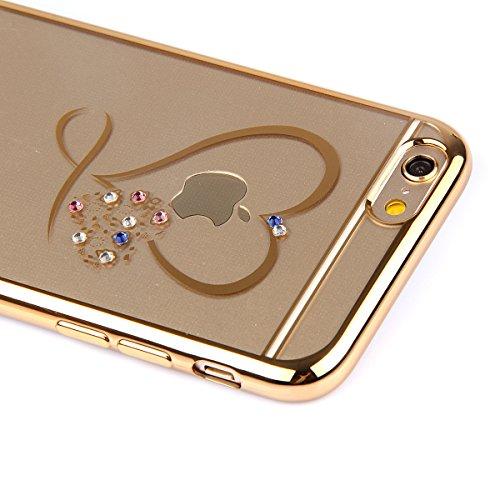 Custodia Resistenti per Apple iPhone 7Plus 5.5(NON iPhone 7 4.7), CLTPY Confine di Placcatura Disegni Vintage Caso Ultra Slim Sottile Morbida Soft TPU Silicone Intarsiato Brillantini Bling Diamante  Cuore in Oro