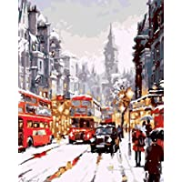 YEESAM ART New Paint by Numbers for Adults Children - Christmas London Night, Street Snow View 16*20 inches Linen Canvas - DIY Digital Painting by Numbers Kits on Canvas