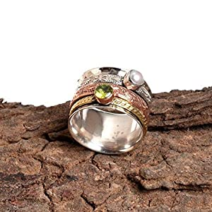 Peridot, Pearl Spinner Band Rings, Anxiety Ring for Meditaion, 925 Sterling Silver Band, Brass and Copper Spinner Ring for Women, Gift Ring for Mother's Day