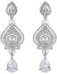 Ever Faith Paire de boucles d'oreilles pendantes de style Art déco ornées d'oxydes de zirconium