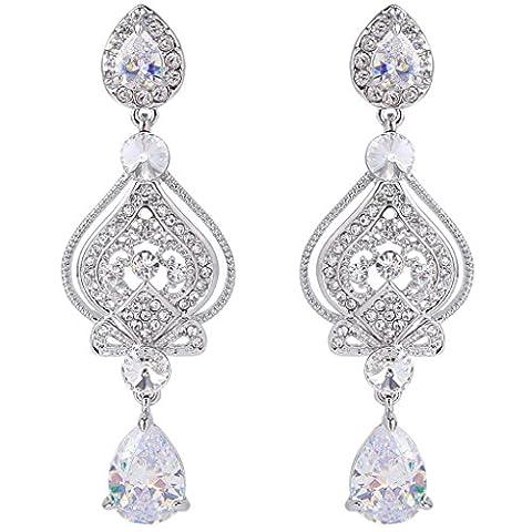 EVER FAITH® CZ Austrian Crystal Romantic Love Heart Chandelier Bridal Earrings Silver-Tone Clear N06166-1