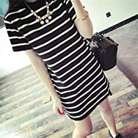 Oyamihin Short-Sleeved Long-Striped Skirt Slim T-Shirt Skirt - Black