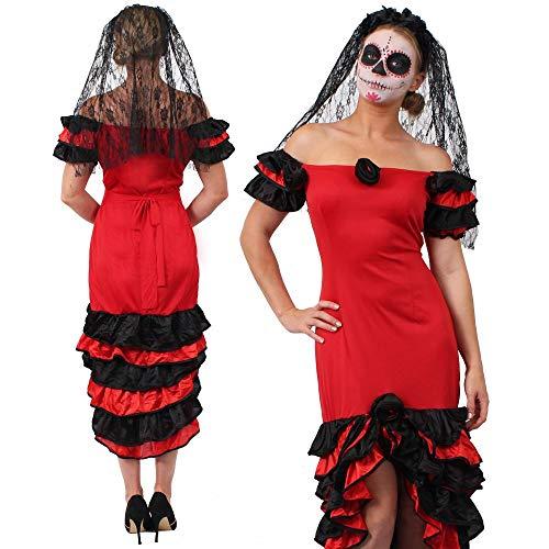 Tag Braut Bräutigam Toten Und Der Kostüm - ILOVEFANCYDRESS Halloween Frauen Day of The Death Fasching Karneval KOSTÜM VERKLEIDUNG= Rumba Kleid + Schleier+SCHMINKE=Large