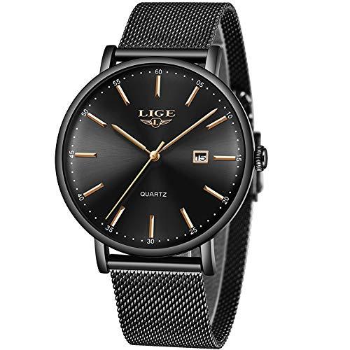 Relojes para Hombres,LIGE Acero Inoxidable Impermeable Moda Sencillo Banda de Malla Milanesa Relojes Date Casual Vestir Analógico de Cuarzo Relojes de Pulsera Negro