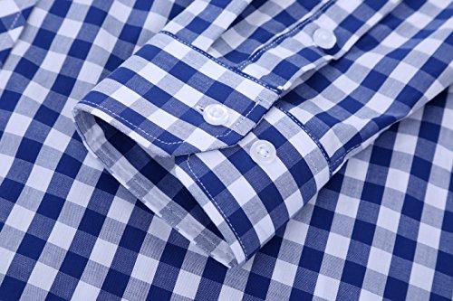 Schonlos Herren Hemden Frühling Slim Fit Langarmshirt Karohemd Kariertes Freizeithemd Trachtenhemd Bügelfrei Blau und Weiß