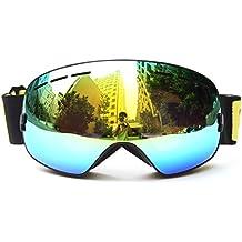 Benice Gafas de esquí profesionales, doble lente, antiniebla, protección UV, grandes gafas para esquí, snowboard, nieve, gafas para hombre, mujer, niños, color Adult Black, tamaño adulto