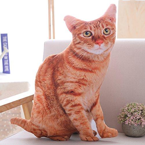 BAONZEN Simulation 3D Katze Kissen Puppe Plüschtier hält Schlaf Puppe Komet Mann lustige Bett Kopfkissen, braune Katze, 50 cm (Katze Braune Bett)