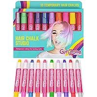 GirlZone: Hair Chalk Set For Girls, 10 Piece Temporary Hair Chalks Colour