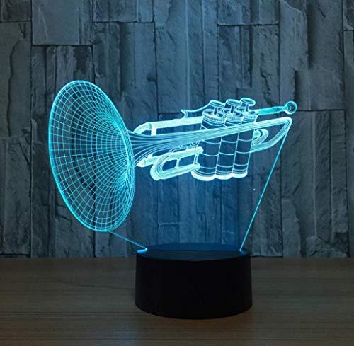 3D Nachtlicht 7 Farbwechsel Trompete Led Schreibtisch Tischlampe Musikinstrumente Wohnkultur Leuchte Freund Kinder Weihnachtsgeschenke Touch Schalter, Fernbedienung 7 Farbwechsel