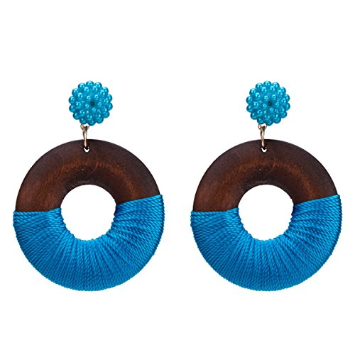 Mode Bohemian Stud Ohrring Ring aus Holz Frauen Ohrringe Geschenk (blau)