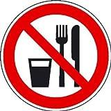 INDIGOS UG - Essen und Trinken verboten Verbotsschild, selbstklebende Folie, Größe 315 mm