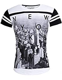 Young & Rich Oversized Herren T-Shirt lange Passform Long Tee New York Foto-Print Slim Fit YR-1907, Grösse:L;Farbe:Weiß