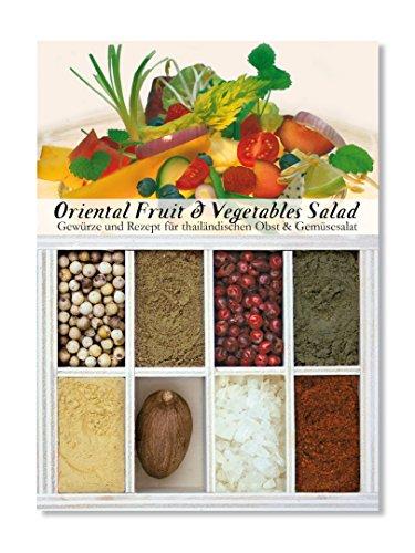 Oriental Fruit & Vegetables Salad – 8 Gewürze Set für thailändischen Obst- und Gemüsesalat (60g) – in einem schönen Holzkästchen – mit Rezept und Einkaufsliste – Geschenkidee für Feinschmecker von Feuer & Glas