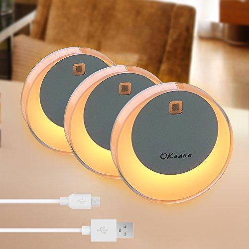 (LED Nachtlicht mit Bewegungsmelder, Okeanu Warmes weißes LED Lichter, Auto ON/OFF mit Lichtsensor,Wand- oder Schrankbeleuchtung, Überall Haftend)
