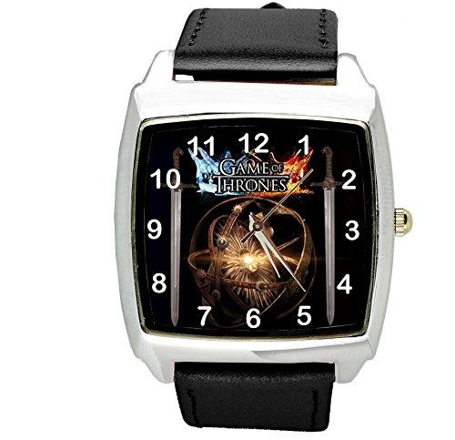 taport® Juego de Tronos cuadrado negro real cuero cuarzo reloj + libr