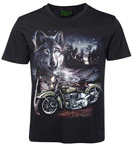 Biker T-Shirt Motorrad und Wolf Größe XXXL