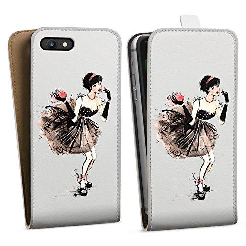 Apple iPhone 5 Silikon Hülle Case Schutzhülle Frau ohne Hintergrund Französisch Downflip Tasche weiß