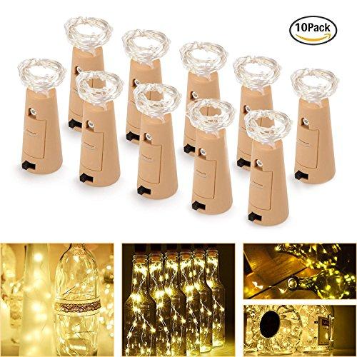 (FYLINA Flaschen-Licht 10 Pack Micro Künstliche Kork Licht Weinflaschen Lichterketten Kupferdraht Sternenlichterkette,   Batteriebetriebene Lichter für Schlafzimmer, Parteien, Hochzeit, Dekoration)