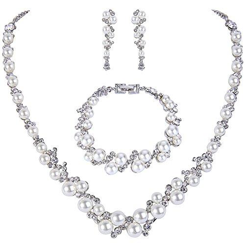 Ever Faith Kristall Ivory Farbe kuenstliche Perle Braut Halskette Ohrringe Armband Set Silber-Ton - Halskette Braut Perlen