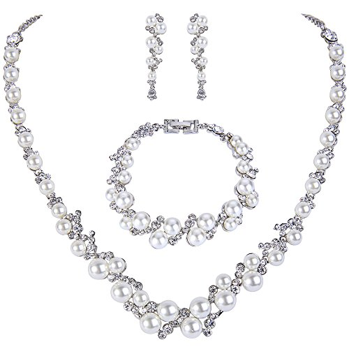 TENYE Kristall Ivory farbe kuenstliche Perle Braut Halskette Ohrringe Armband Set Silber-Ton (Braut-kristall Perle Halskette)