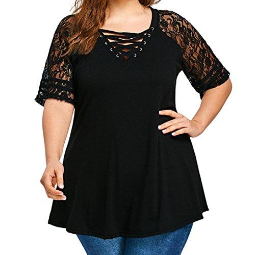 VEMOW Sommer Elegant Damen Damen Mädchen Casual Täglichen Party Plus Size Schwarze Katze Printed Kurzarm T-Shirt Bluse(Schwarz, 54 DE / 4XL CN) -