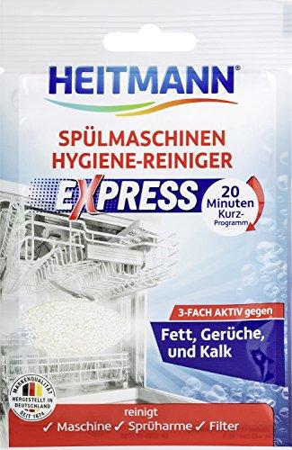 HEITMANN Express Spülmaschinen Reiniger 30g: hygienische Sauberkeit fürs Geschirr, Hygienereiniger 3fach aktiv gegen Fett, Kalk, Gerüche, wirkt schon im Kurzprogramm, spart Zeit, Energie und Kosten