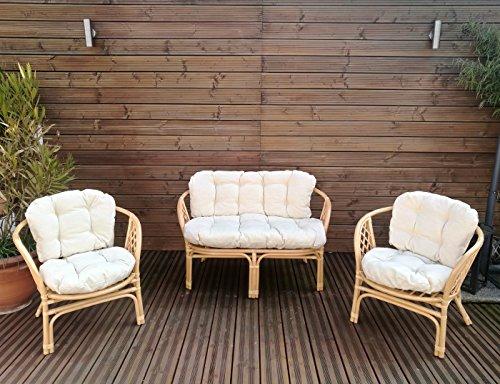 Gartenbankauflagen 6 teiliges Sitzkissen-Set Sitzpolster für Gartengarnitur Set Steve Creme JCG1