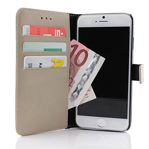 Apple iPhone 6 Plus Handyhülle von Original Urcover® in der Retro Wallet iPhone 6 Plus (5.5 Zoll) Schutzhülle Case Cover Etui Grau Grau
