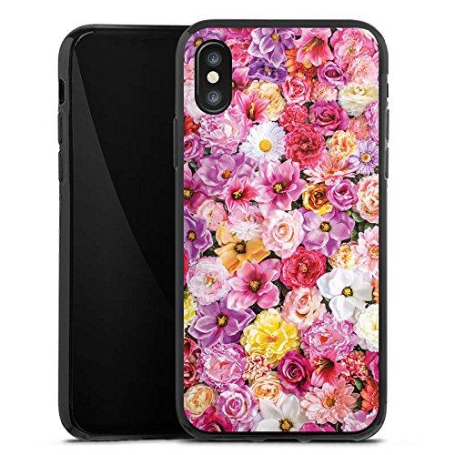 Apple iPhone X Silikon Hülle Case Schutzhülle Blütenmeer Blüten Blumen Silikon Case schwarz