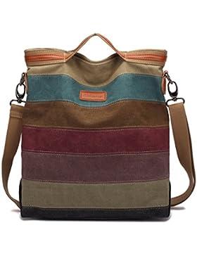 Canvas Damen Handtasche,KAUKKO Canvas Damen Stripe Stylisch Schultertasche Elegante Umhängetasche Bag für Mädchen...