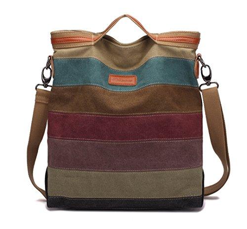 Damen Handtasche,KAUKKO Canvas Damen Stripe Stylisch Schultertasche Elegante Umhängetasche Bag für Mädchen Shopper (Stripe Canvas)