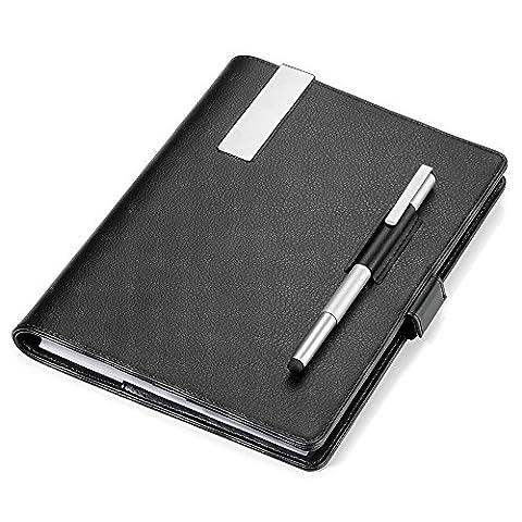 TROIKA REISEMAPPE mit DIN A5 NOTIZBLOCK - BOK69/LE - schwarz - PU / Leder - mit Kugelschreiber und Eingabestift - Magnetverschluss - 8 Kartenfächer - das Original von
