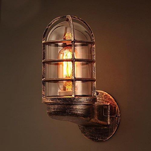 Outdoor Wasserdichte Wandleuchte Retro LED Wandleuchte Schmiedeeisen Schwarz/Antik Messing Wandleuchte Balkon Stehtisch Wanddekoration Lampe (Color : B)