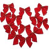 ILOVEDIY 24 Stück Rot Zierschleifen Weihnachtsbaumschmuck Deko Weihnachtsdeko