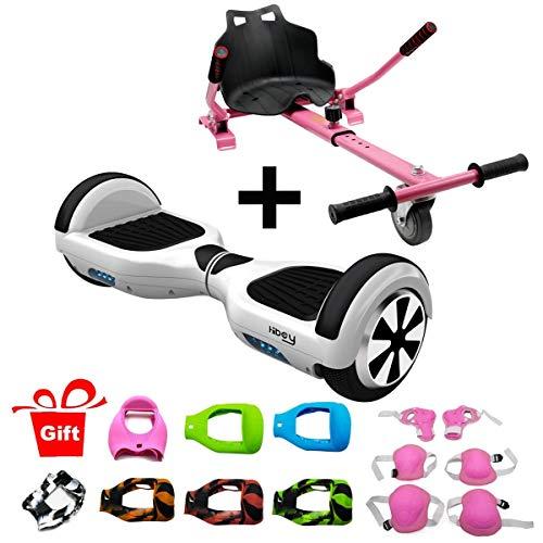 Hiboy-Asiento Kart para Patinete Eléctrico, Silla Self Balancing Compatible con Todos los Patinetes Eléctricos de 6.5, 8 y 10 Pulgadas (Pack Kart Rosa + TW01 Blanco)
